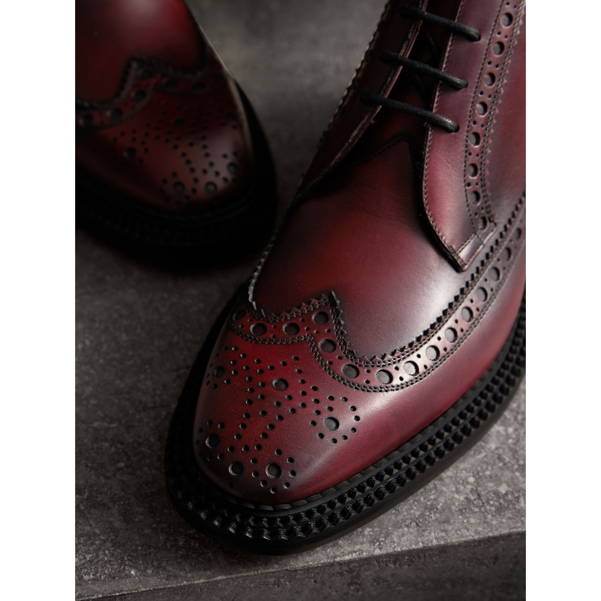 Leather Brogue Boots in Bordeaux - Men | Burberry - gallery image 2