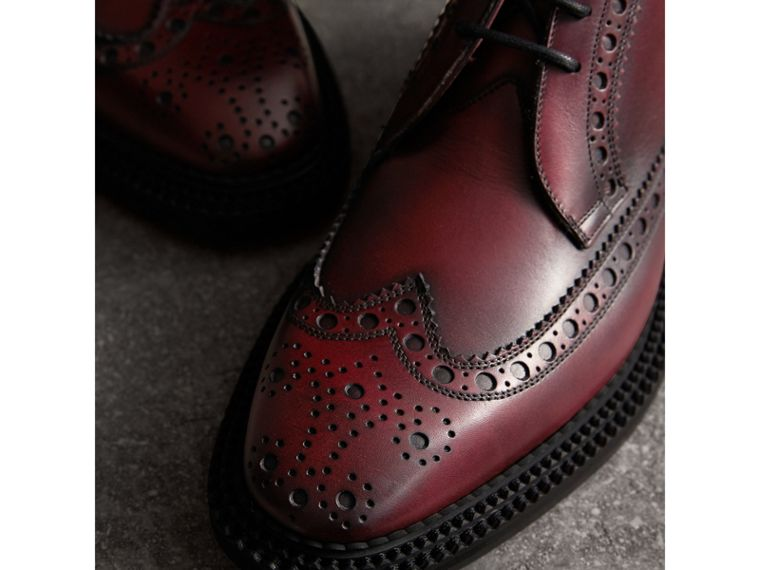 Leather Brogue Boots in Bordeaux - Men | Burberry - cell image 1
