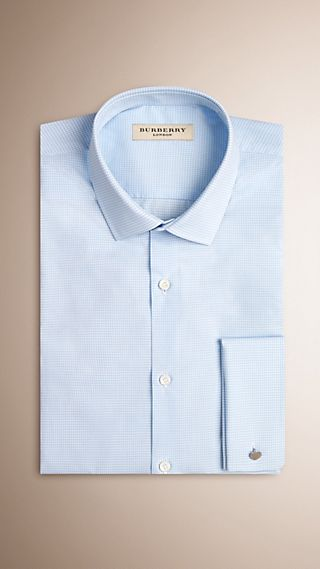 Modern Double-cuff Gingham Cotton Poplin Shirt