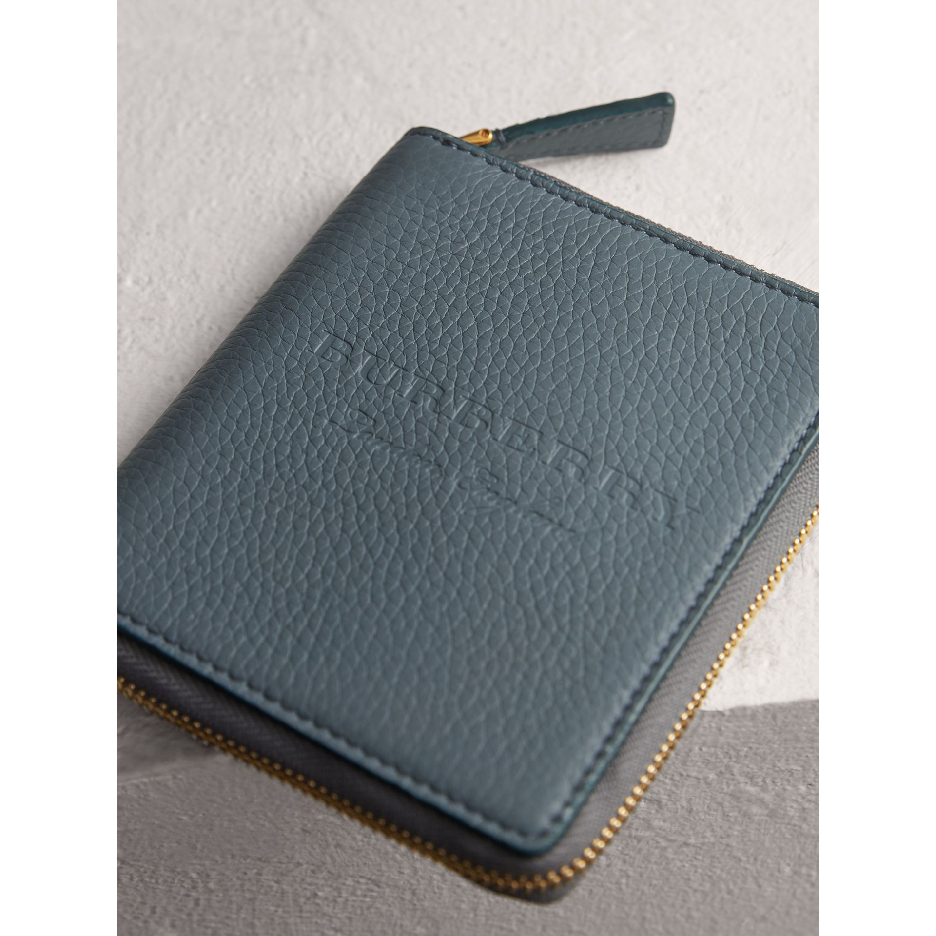 Embossed Grainy Leather Ziparound A6 Notebook Case in Dusty Teal Blue | Burberry United States - gallery image 1