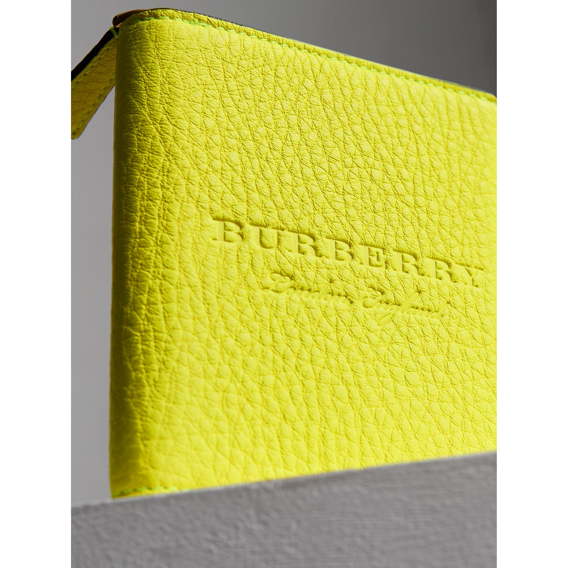 Embossed Grainy Leather Ziparound A6 Notebook Case in Bright Yellow | Burberry - gallery image 1