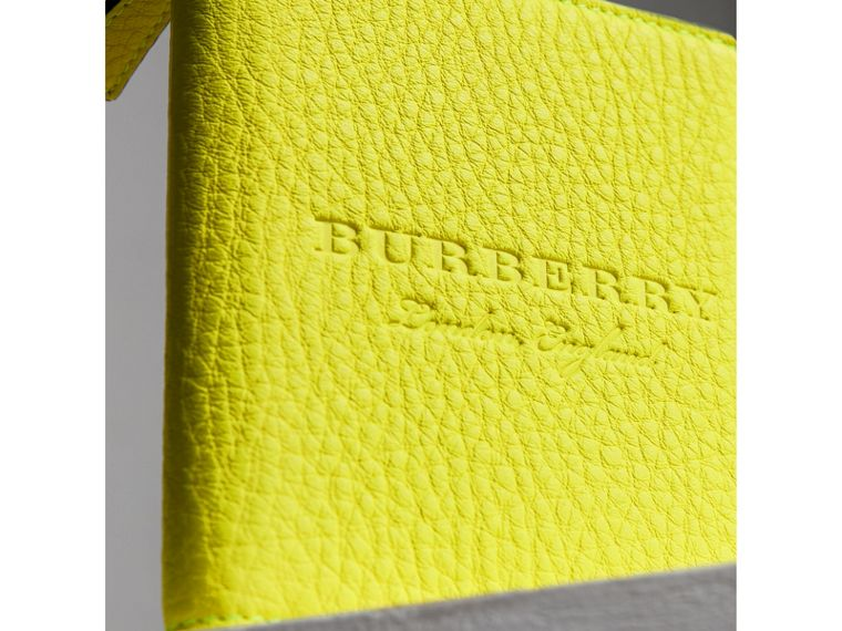 Embossed Grainy Leather Ziparound A6 Notebook Case in Bright Yellow | Burberry - cell image 1