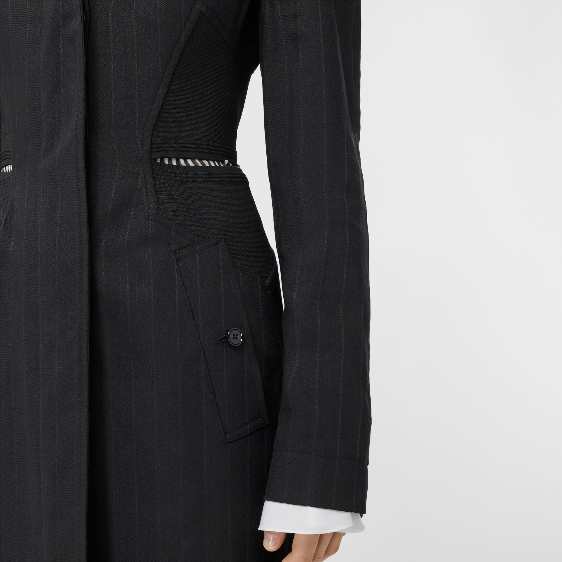 Pinstriped Technical Twill Reconstructed Car Coat in Black - Women | Burberry Australia - gallery image 6