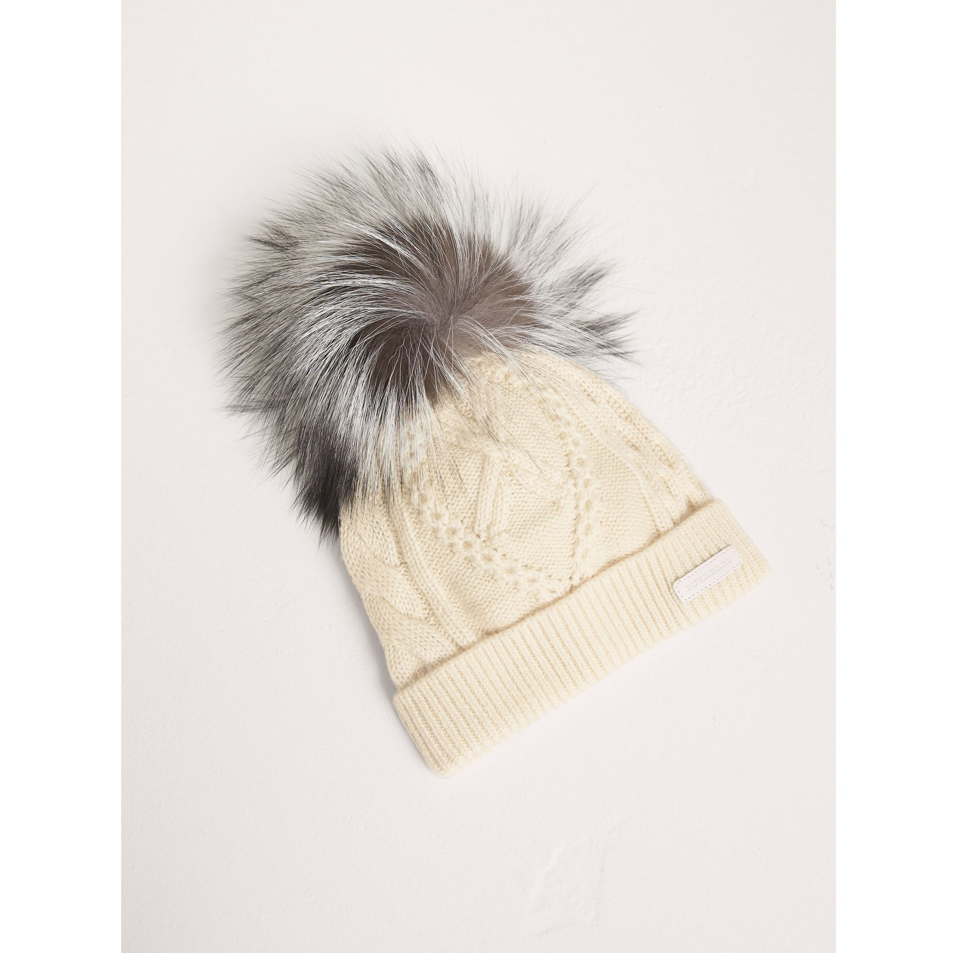 Fox Fur Pom-pom Wool Cashmere Beanie in Natural White | Burberry - gallery image 1