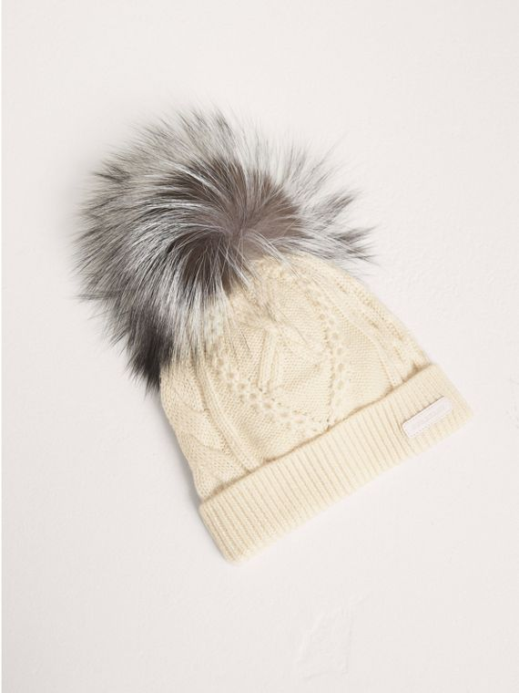 Fox Fur Pom-pom Wool Cashmere Beanie in Natural White