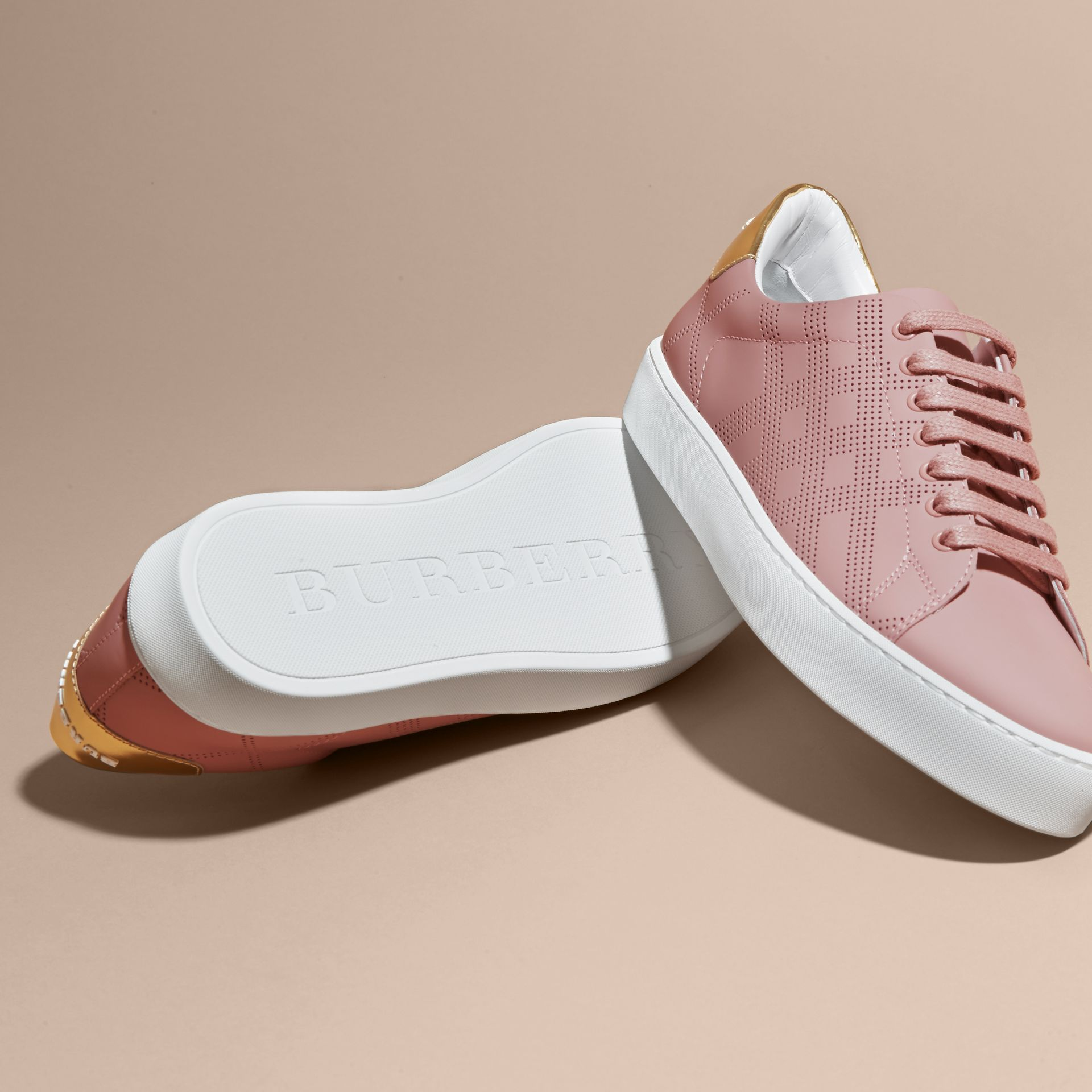 Perforated Check Leather Trainers Rose Pink - gallery image 5