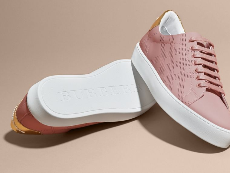 Perforated Check Leather Trainers Rose Pink - cell image 4