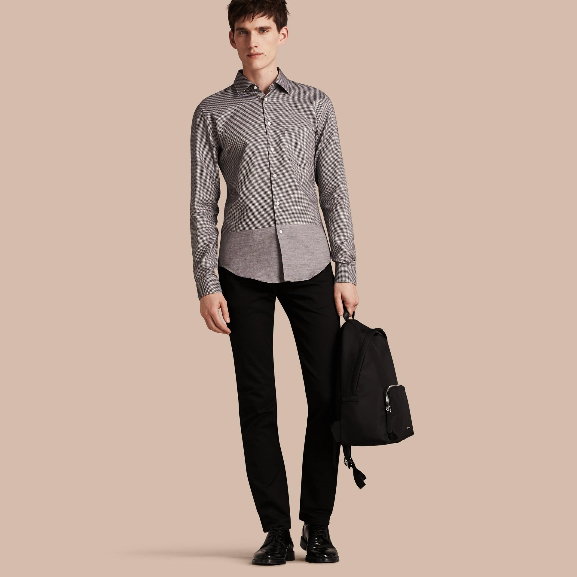 Schwarz Hemd aus Baumwolle mit kleinem Hahnentrittmuster - Galerie-Bild 1