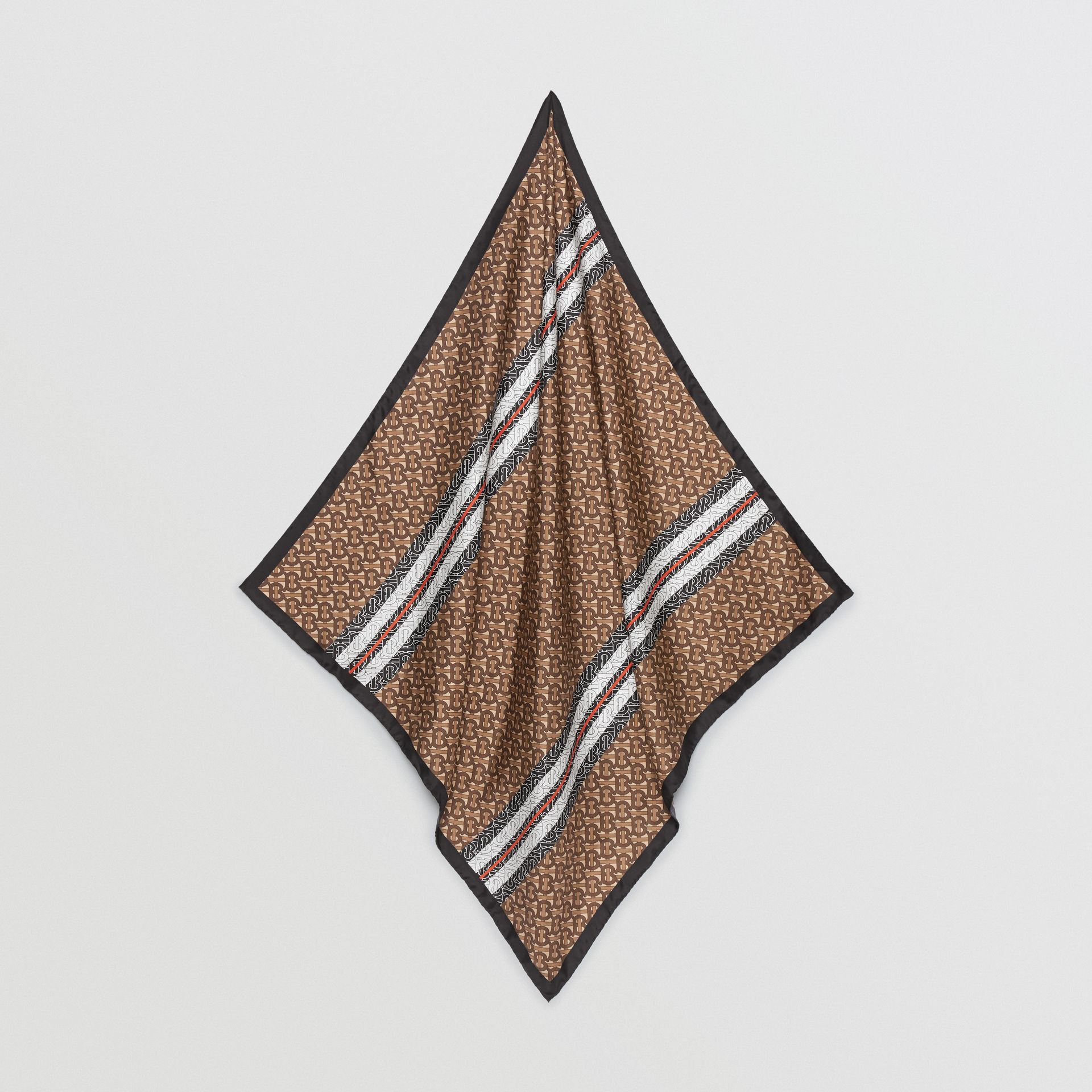 Monogram Stripe Print Silk Square Scarf in Bridle Brown | Burberry United Kingdom - gallery image 3