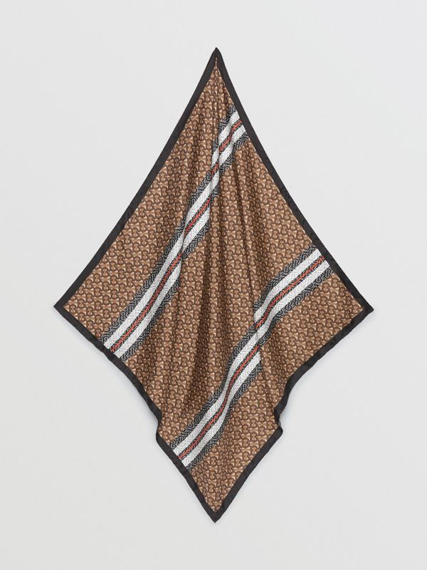 Monogram Stripe Print Silk Square Scarf in Bridle Brown | Burberry - cell image 3