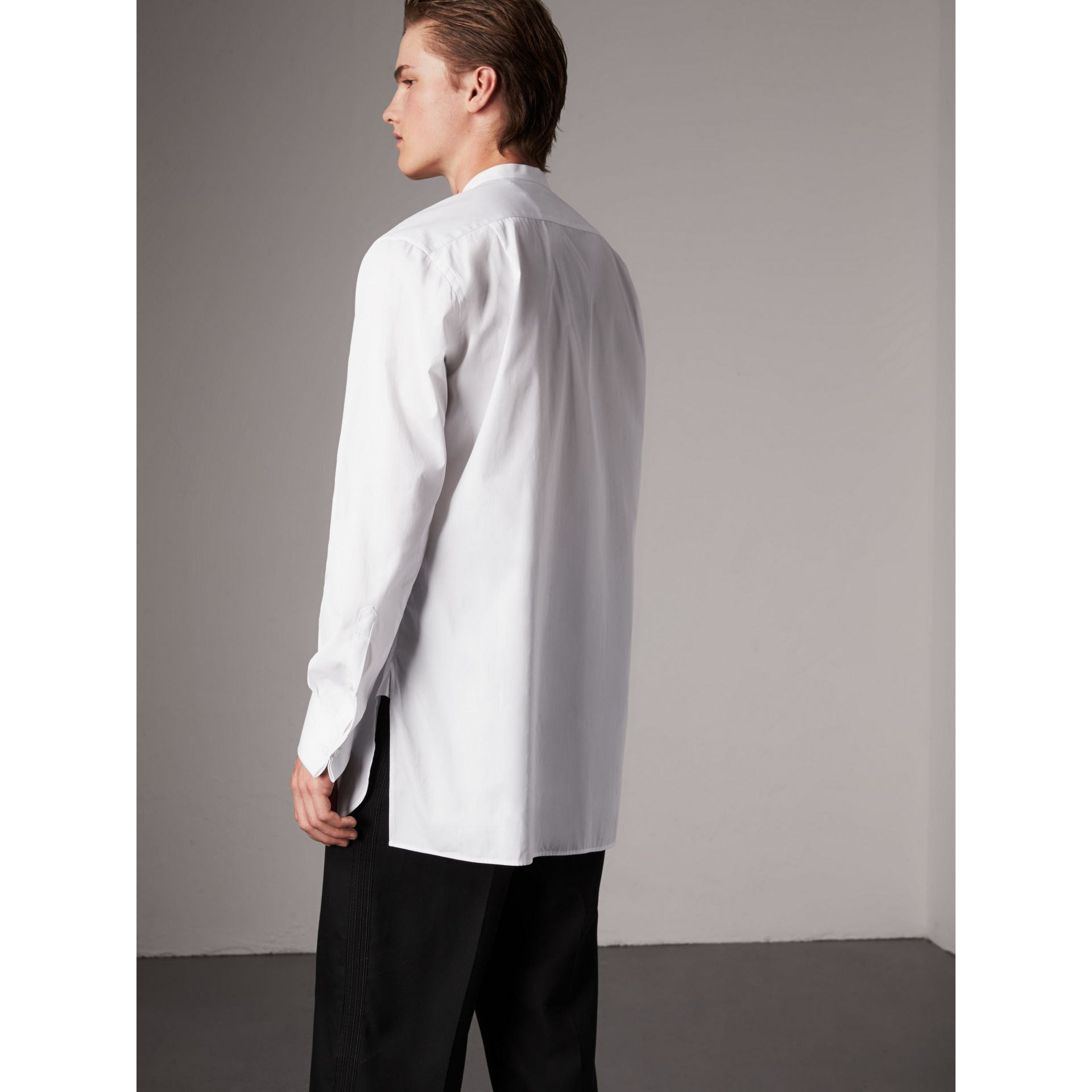 Grandad Collar Plastic Bib Cotton Shirt in White - Men | Burberry United Kingdom - gallery image 3