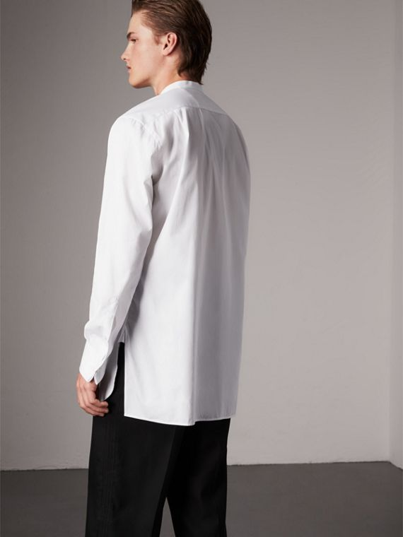 Grandad Collar Plastic Bib Cotton Shirt in White - Men | Burberry Singapore - cell image 2