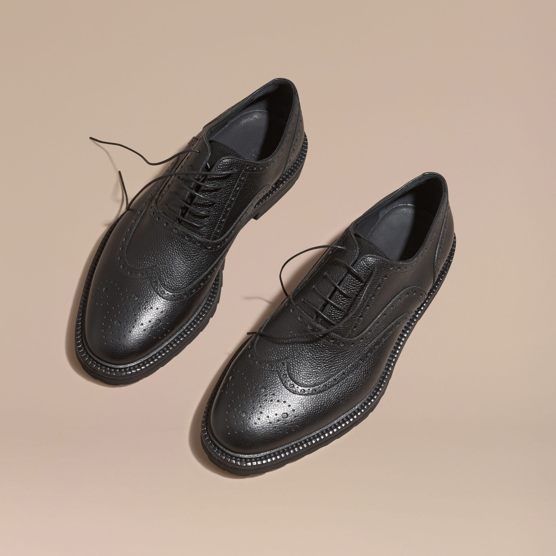Black Grainy Leather Wingtip Brogue with Rubber Sole Black - gallery image 3