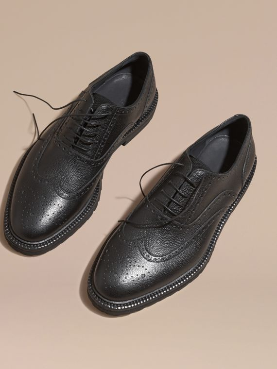 Black Grainy Leather Wingtip Brogue with Rubber Sole Black - cell image 2