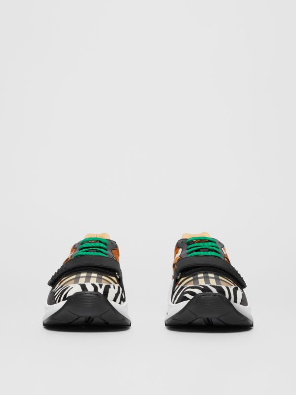 Animal Print and Vintage Check Sneakers in Archive Beige - Men | Burberry - cell image 3