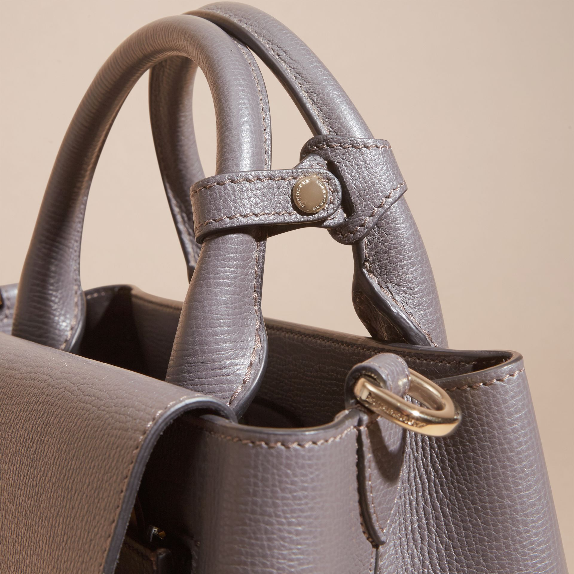 Sepia grey The Small Saddle Bag in Grainy Bonded Leather Sepia Grey - gallery image 6