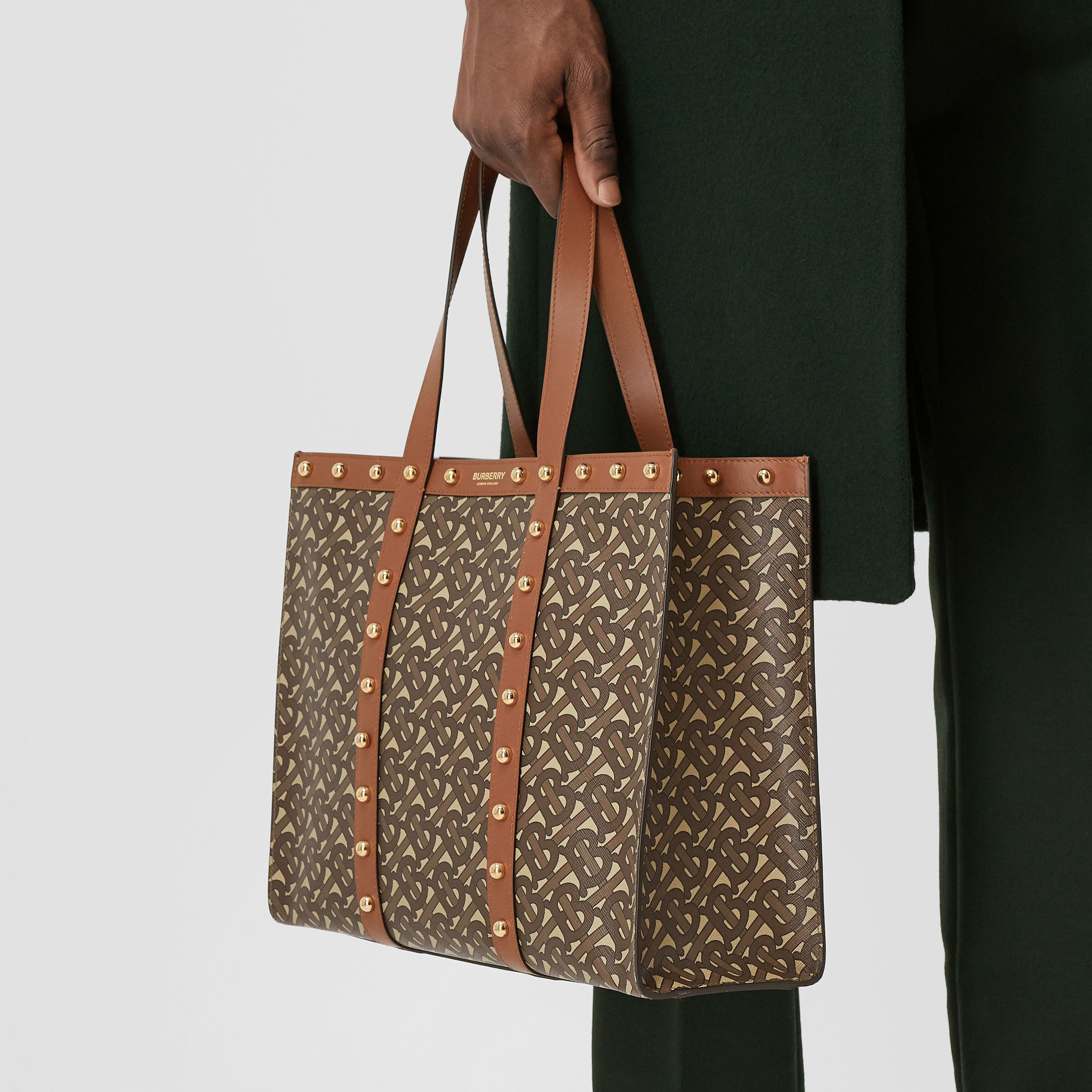 Small Monogram Print E-canvas Tote Bag in Tan | Burberry - 4