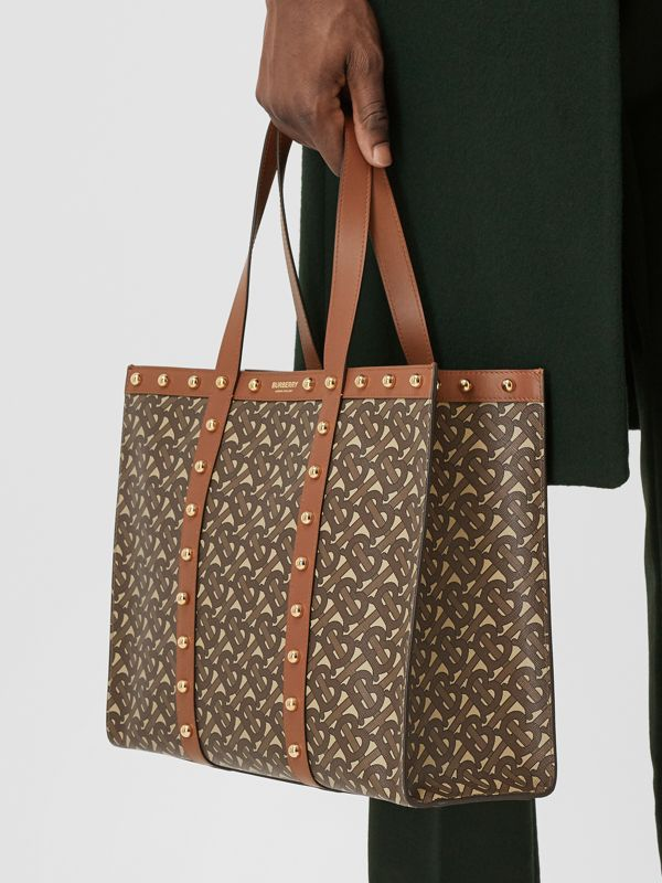 Small Monogram Print E-canvas Tote Bag in Tan | Burberry Hong Kong S.A.R - cell image 3