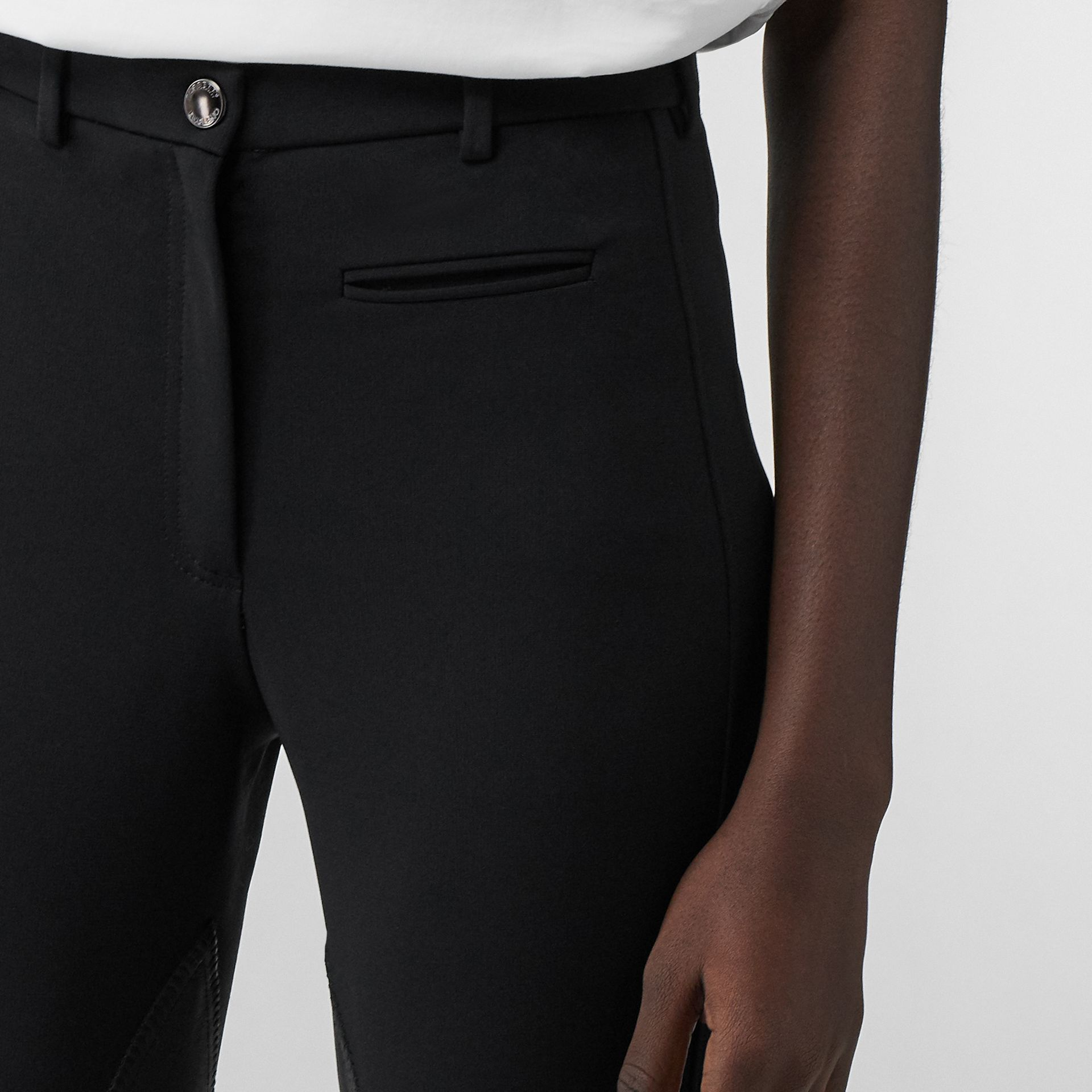 Lambskin Panel Stretch Crepe Jersey Trousers in Black - Women | Burberry Australia - gallery image 1
