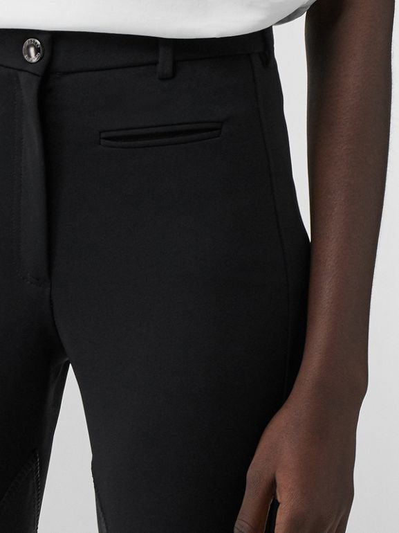 Lambskin Panel Stretch Crepe Jersey Trousers in Black - Women | Burberry United Kingdom - cell image 1