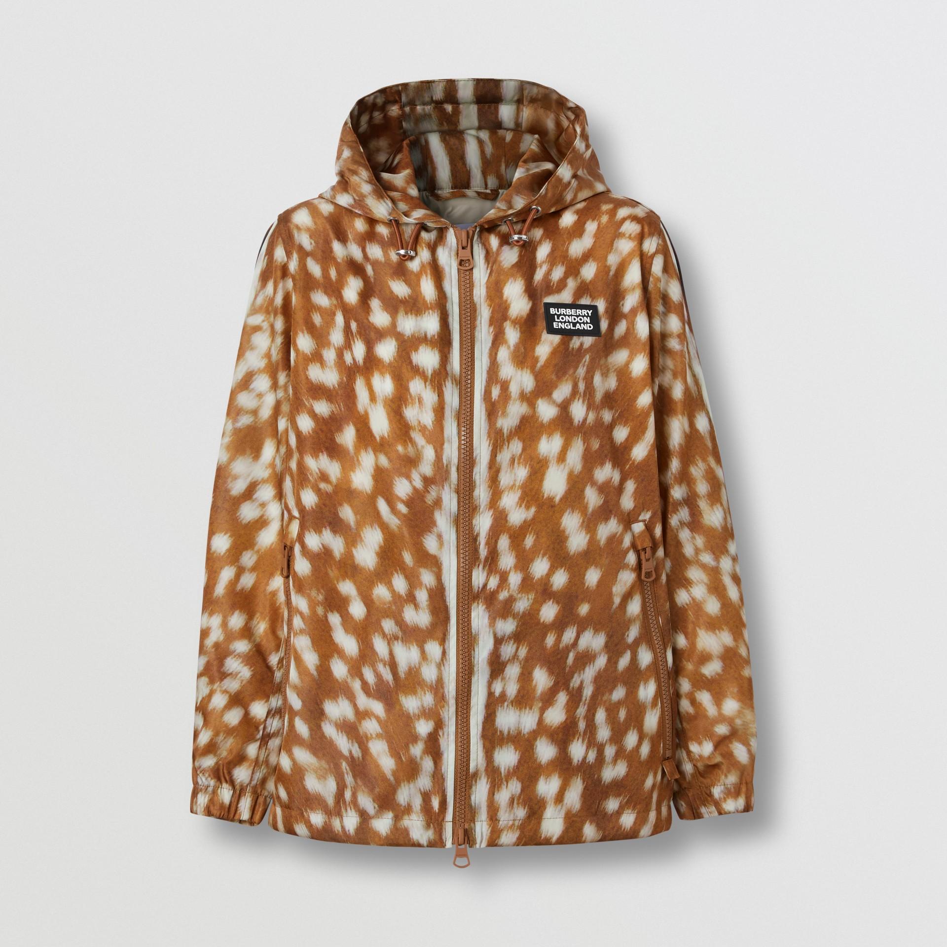 Deer Print ECONYL® Hooded Jacket in Honey - Women | Burberry - gallery image 3