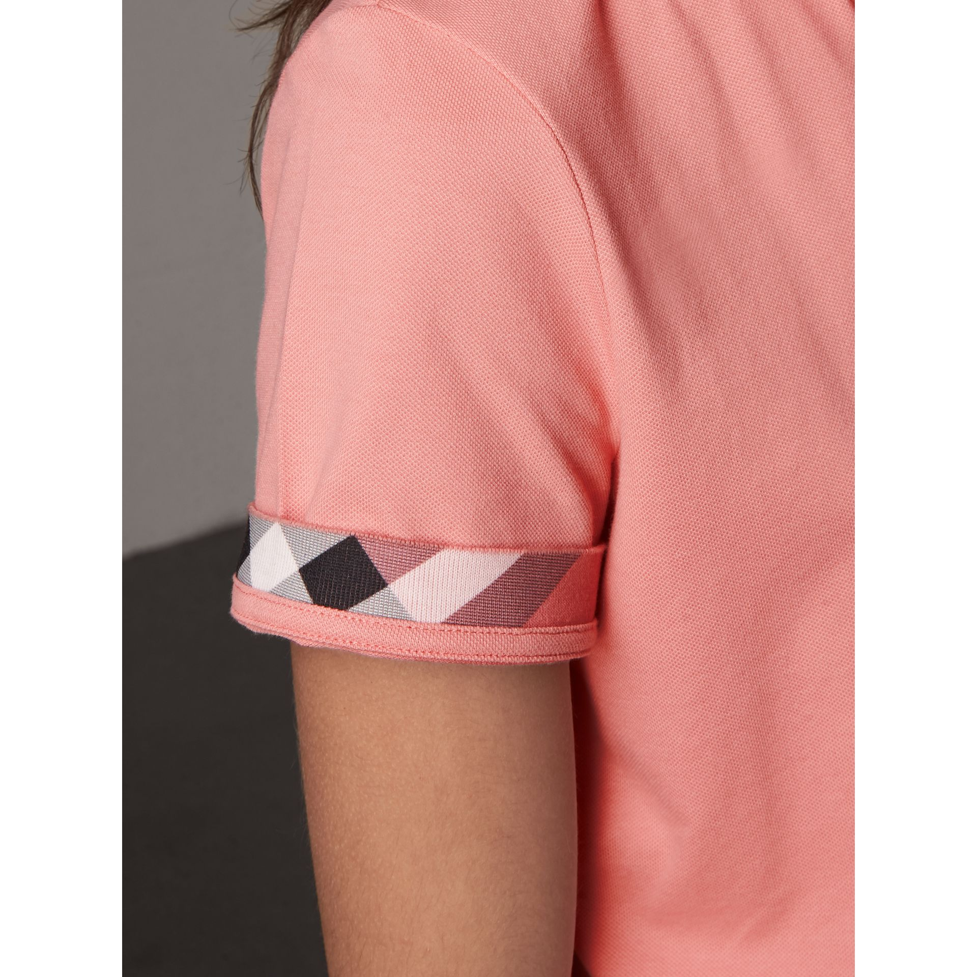 Check Trim Stretch Cotton Piqué Polo Shirt in Carnation Pink - Women | Burberry Australia - gallery image 2
