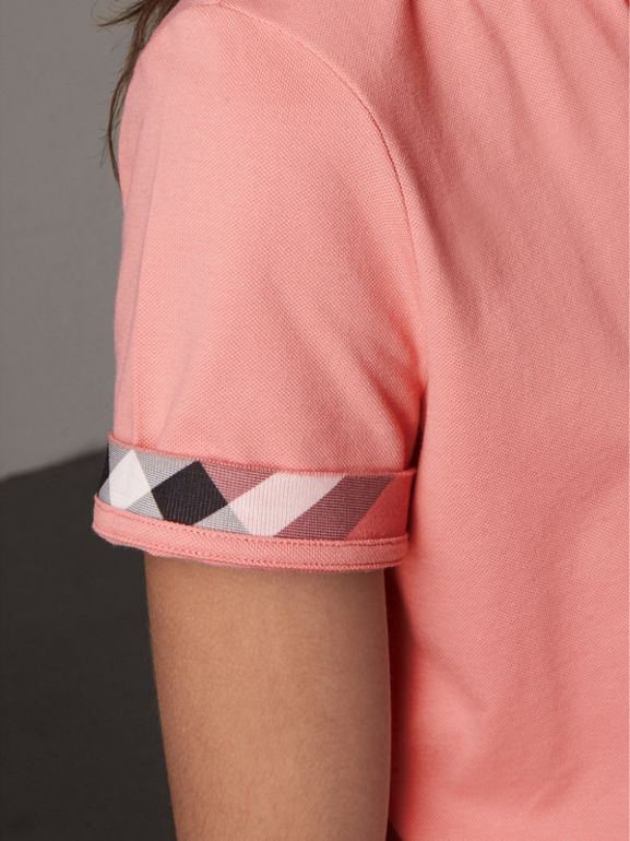 Check Trim Stretch Cotton Piqué Polo Shirt in Carnation Pink - Women | Burberry - cell image 1