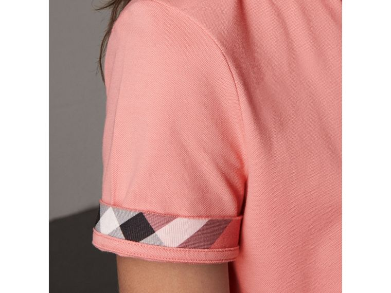 Check Trim Stretch Cotton Piqué Polo Shirt in Carnation Pink - Women | Burberry Australia - cell image 1