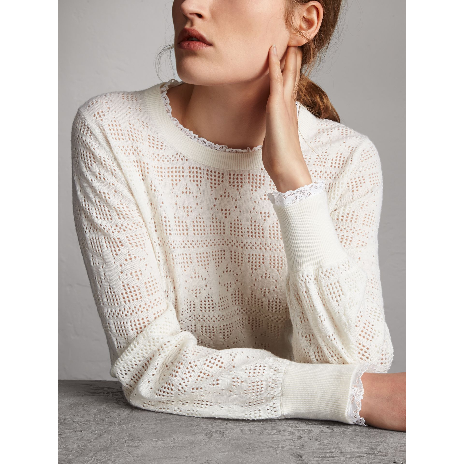 Lace Trim Pointelle Wool Cashmere Sweater in Natural White - Women | Burberry Australia - gallery image 2