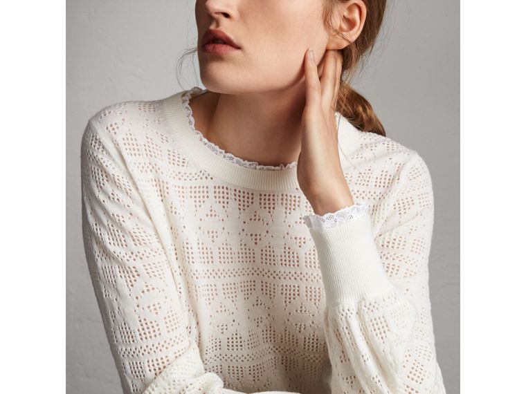 Lace Trim Pointelle Wool Cashmere Sweater in Natural White - Women | Burberry - cell image 1