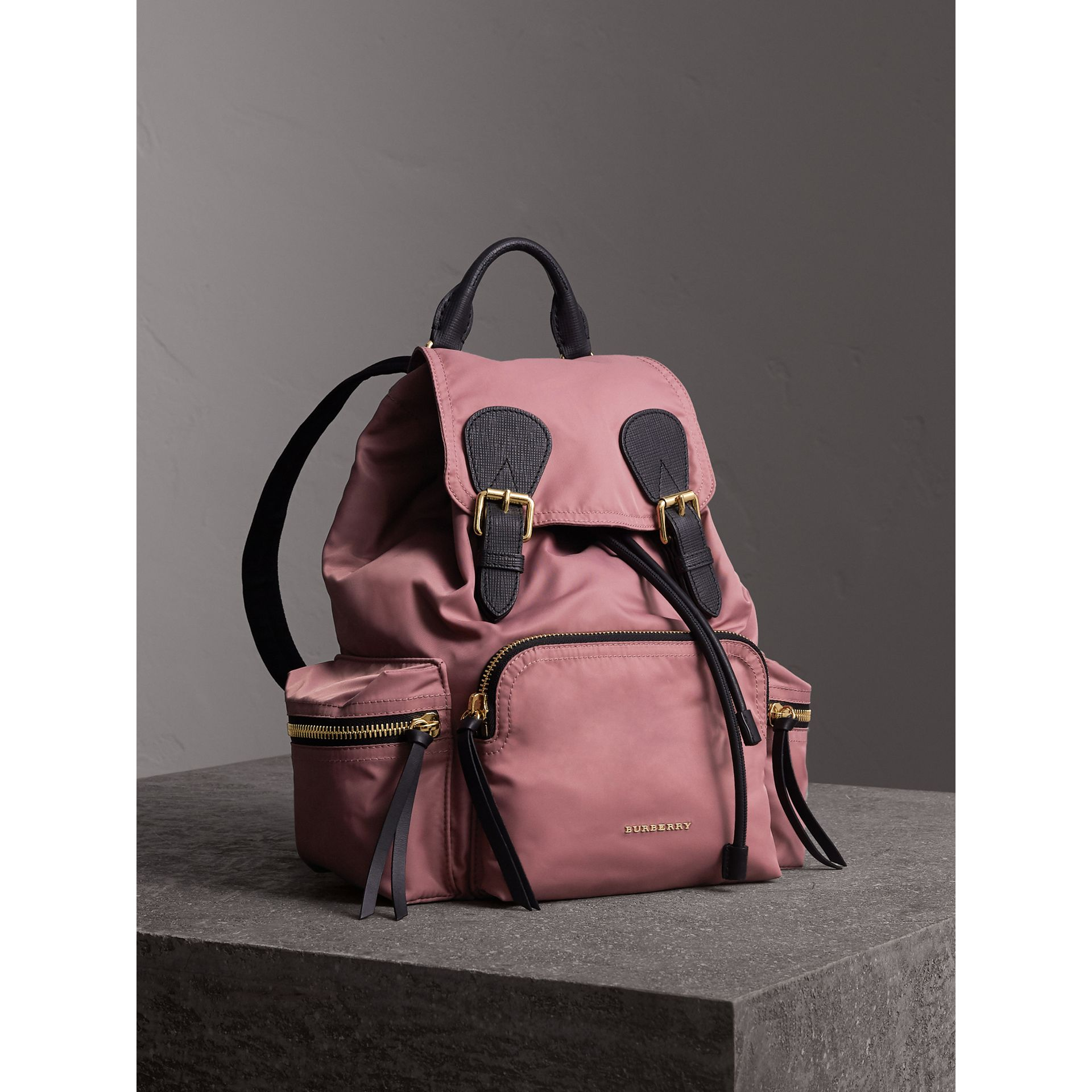 The Medium Rucksack in Technical Nylon and Leather in Mauve Pink - Women | Burberry Canada - gallery image 1
