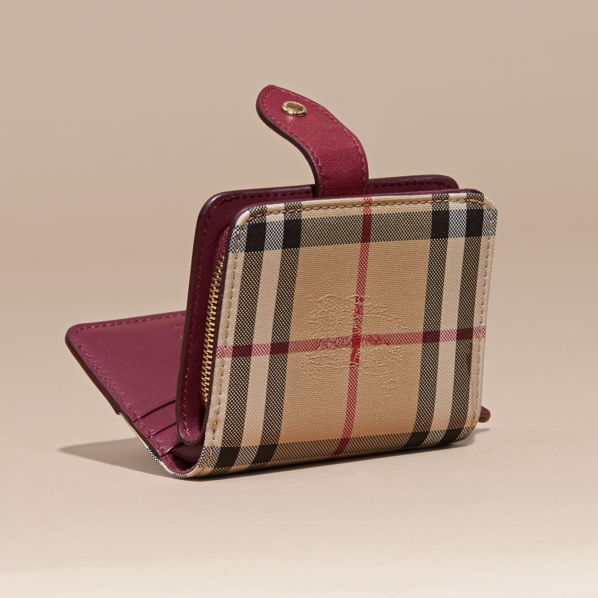 Dark plum Horseferry Check and Leather Wallet Dark Plum - gallery image 4