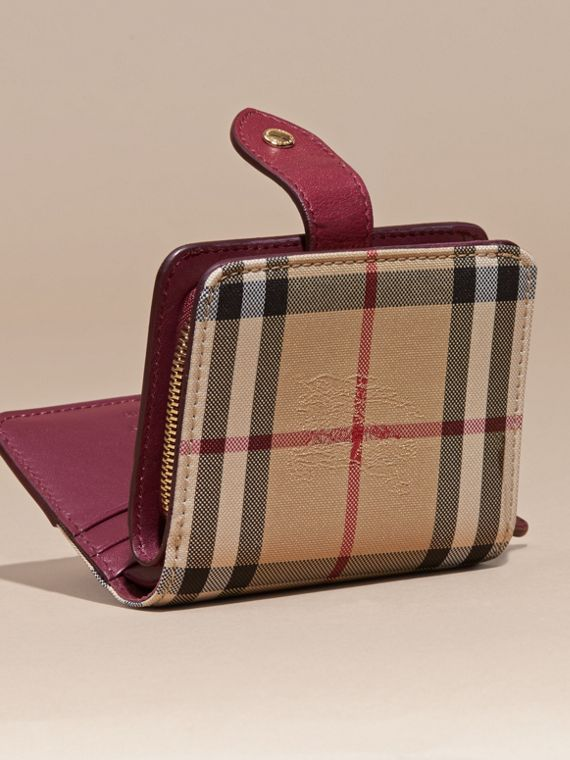 Dark plum Horseferry Check and Leather Wallet Dark Plum - cell image 3