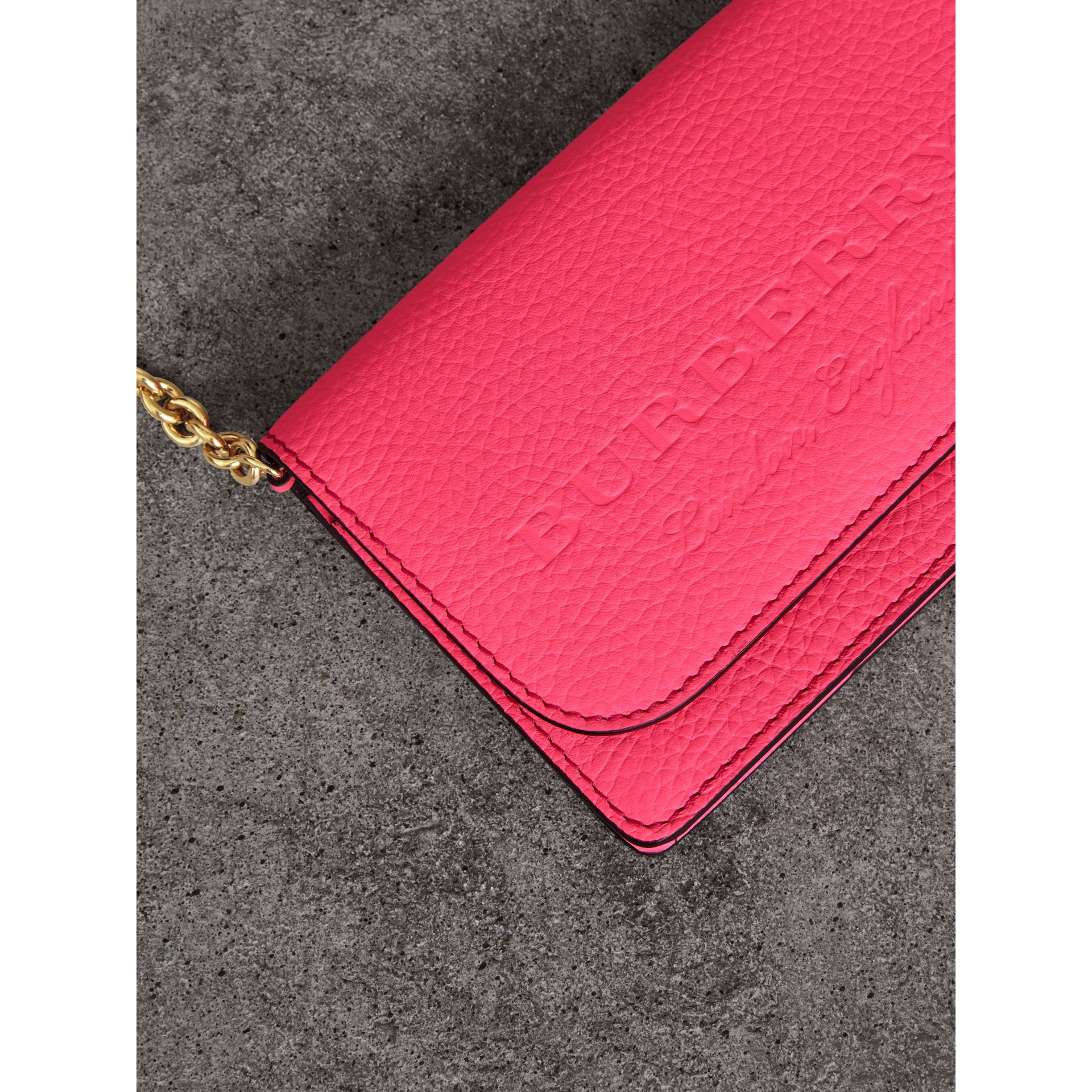 Embossed Leather Wallet with Detachable Strap in Bright Pink - Women | Burberry - gallery image 1