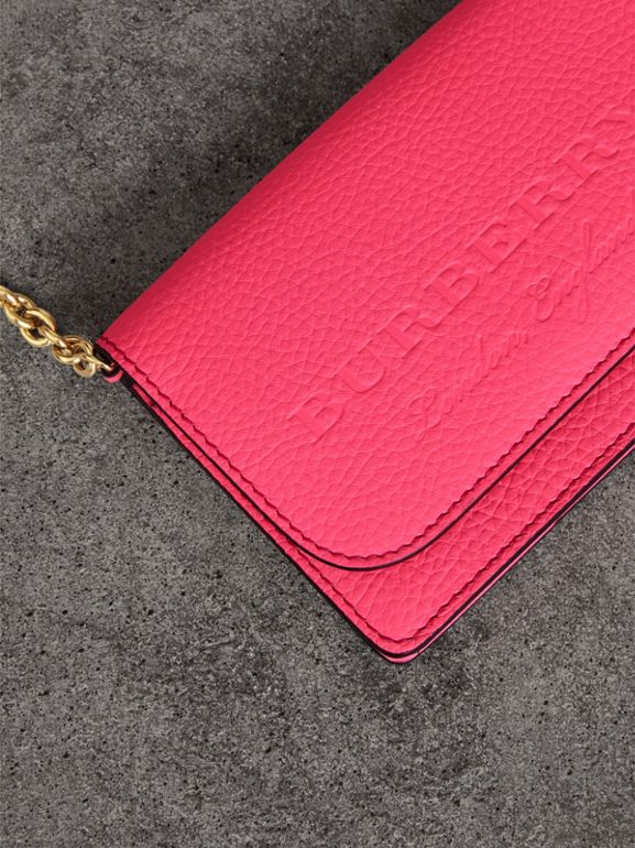 Embossed Leather Wallet with Detachable Strap in Bright Pink - Women | Burberry - cell image 1