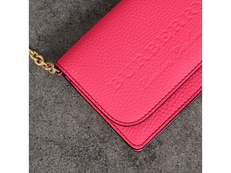 Embossed Leather Wallet with Detachable Strap in Bright Pink - Women | Burberry United Kingdom - cell image 1