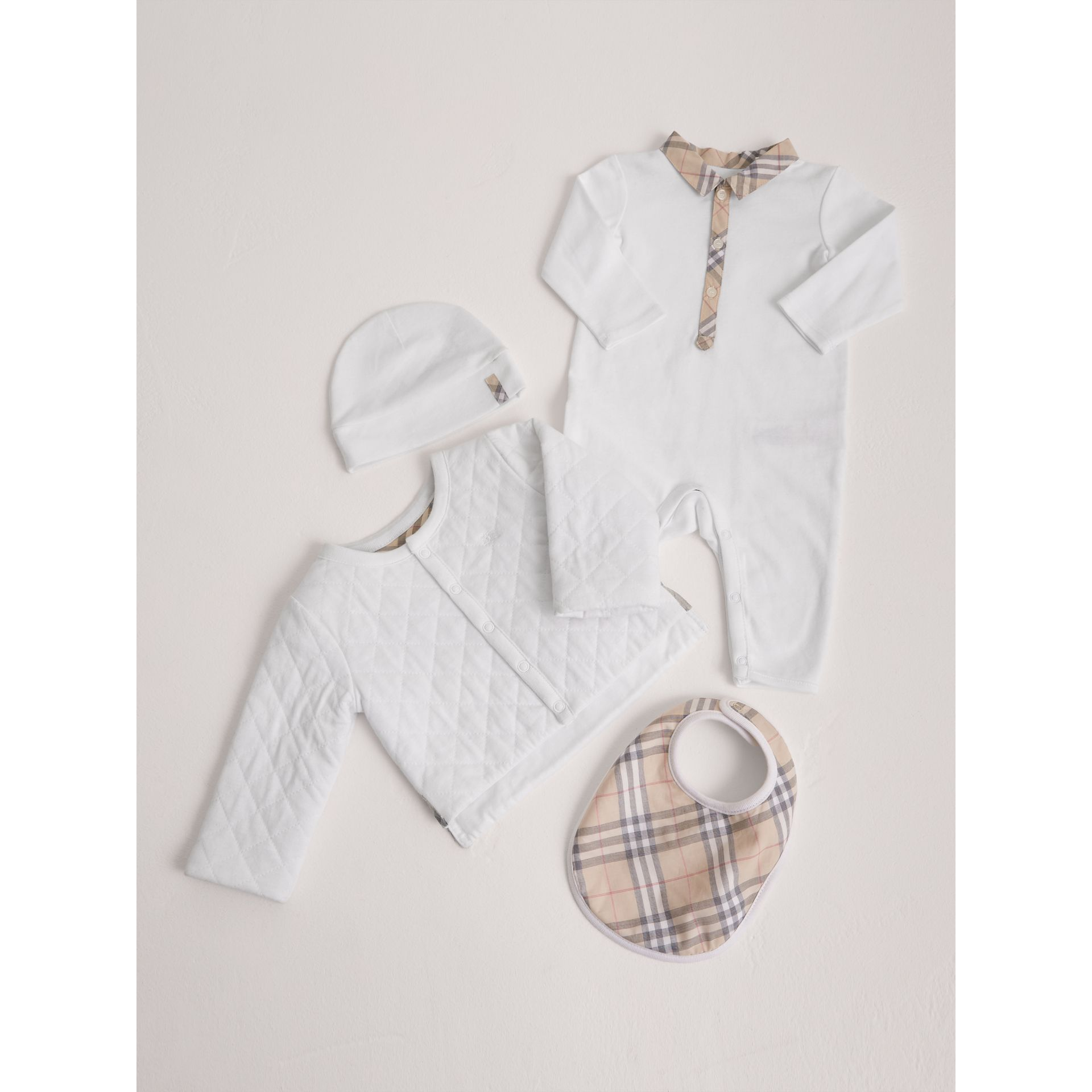 Check Detail Four-piece Baby Gift Set in White | Burberry Canada - gallery image 0