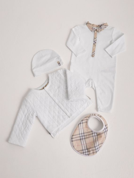 Check Detail Four-piece Baby Gift Set in White