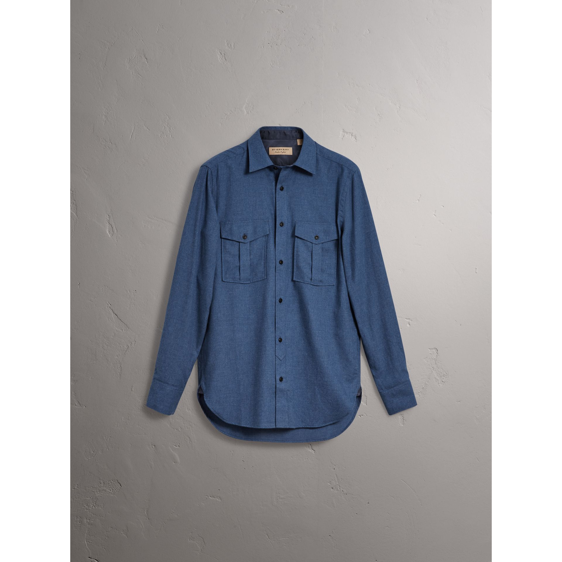 Lightweight Cotton Flannel Shirt in Canvas Blue - Men | Burberry - gallery image 4