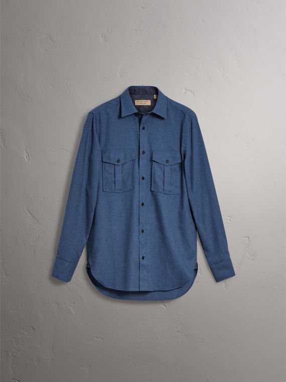Lightweight Cotton Flannel Shirt in Canvas Blue - Men | Burberry United Kingdom - cell image 3