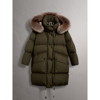 Detachable Fur Trim and Shearling Hood Puffer Coat in Olive Green ...