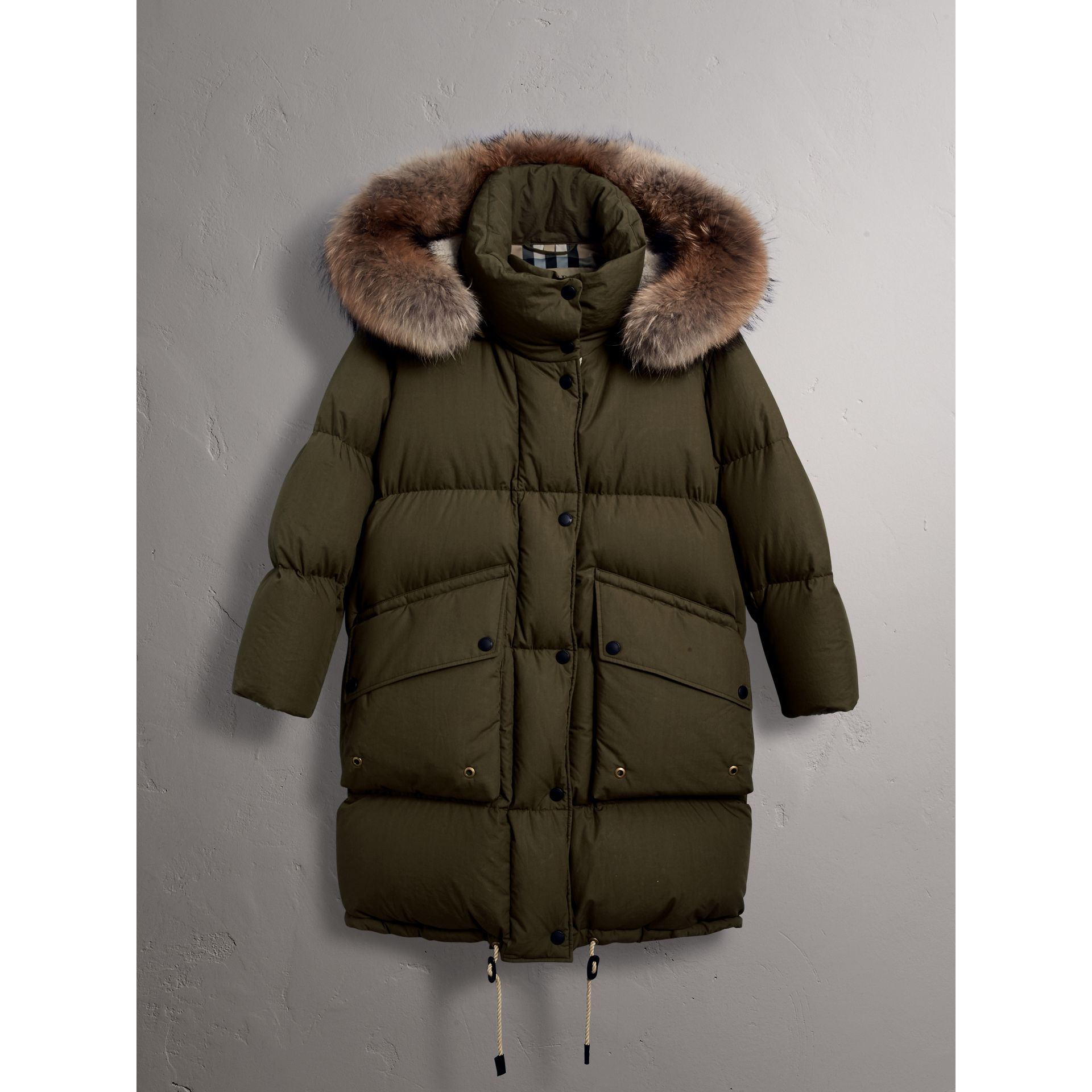 Detachable Fur Trim and Shearling Hood Puffer Coat in Olive Green - Women | Burberry - gallery image 3