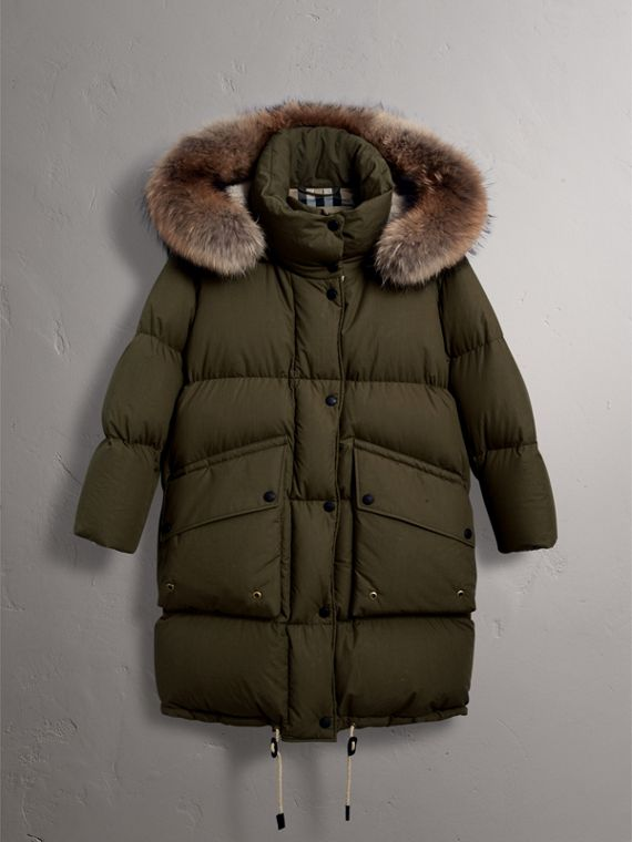 Detachable Fur Trim and Shearling Hood Puffer Coat in Olive Green - Women | Burberry Australia - cell image 3