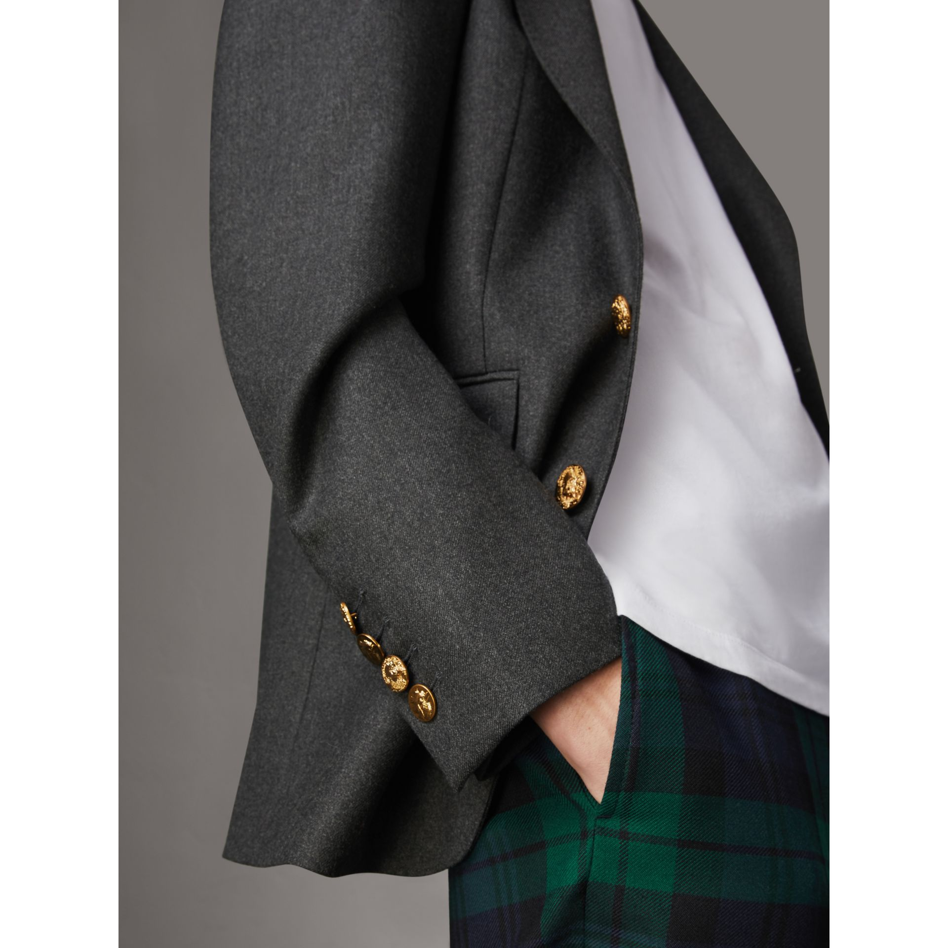 Bird Button Wool Tailored Jacket in Dark Grey Melange - Men | Burberry Singapore - gallery image 1