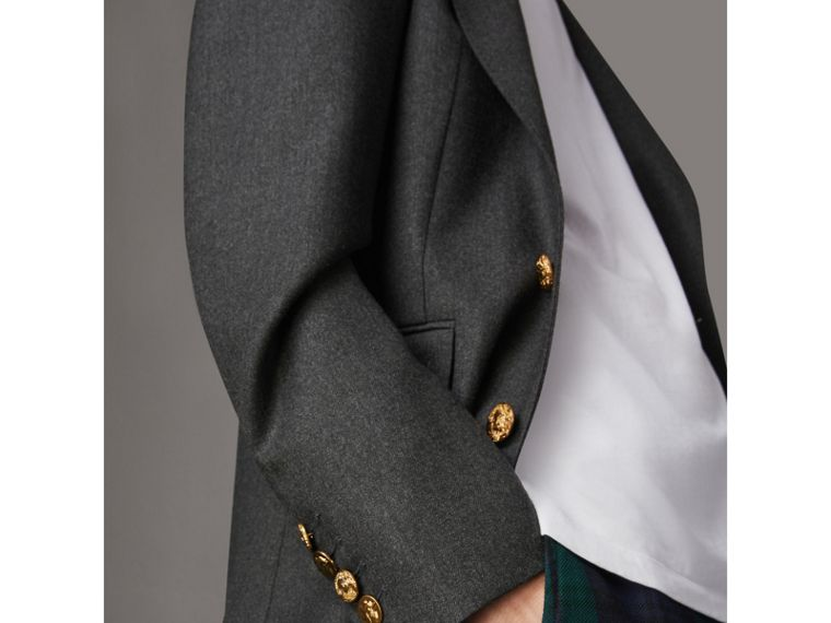 Bird Button Wool Tailored Jacket in Dark Grey Melange - Men | Burberry Singapore - cell image 1