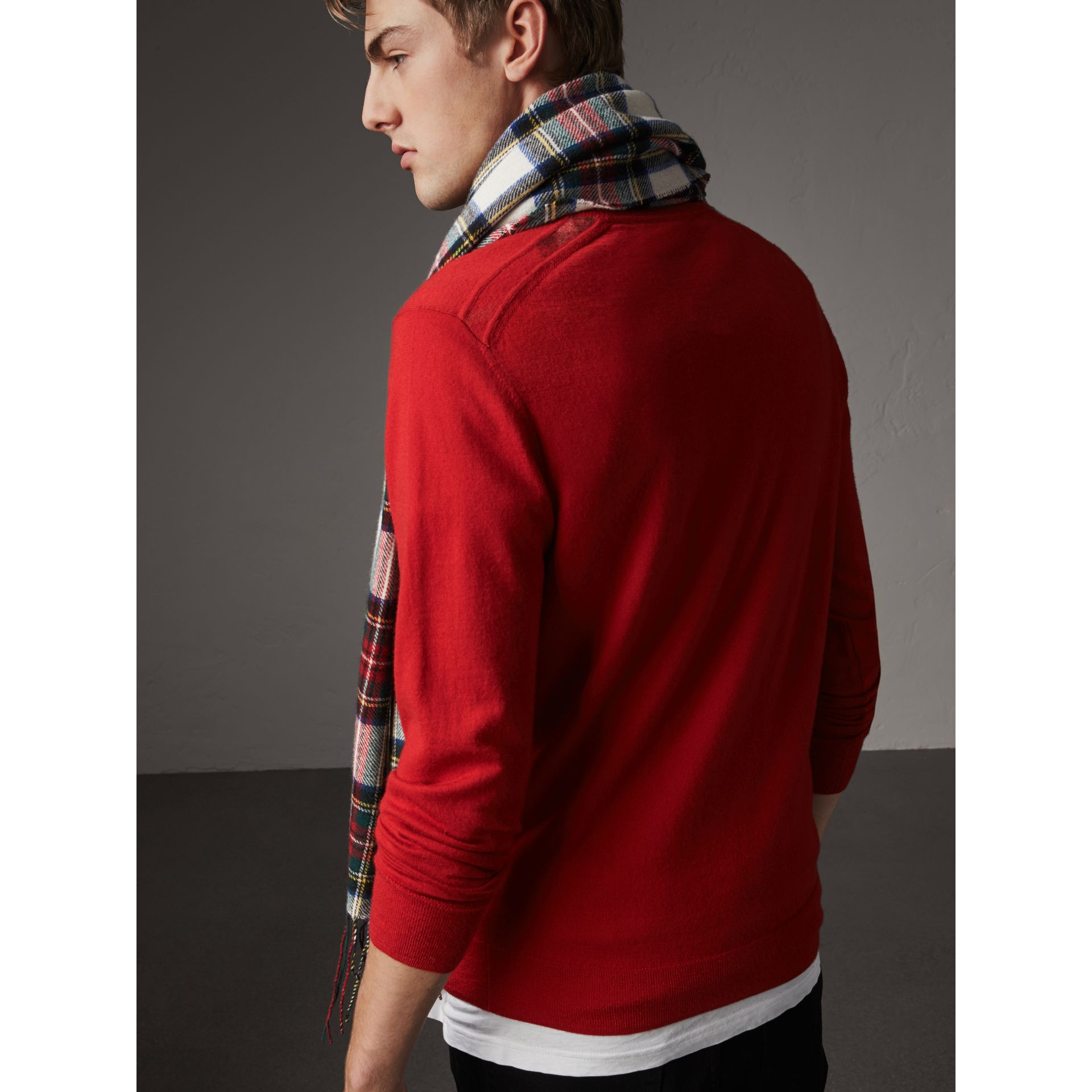 Check Jacquard Detail Cashmere Sweater in Parade Red - Men | Burberry United Kingdom - gallery image 1