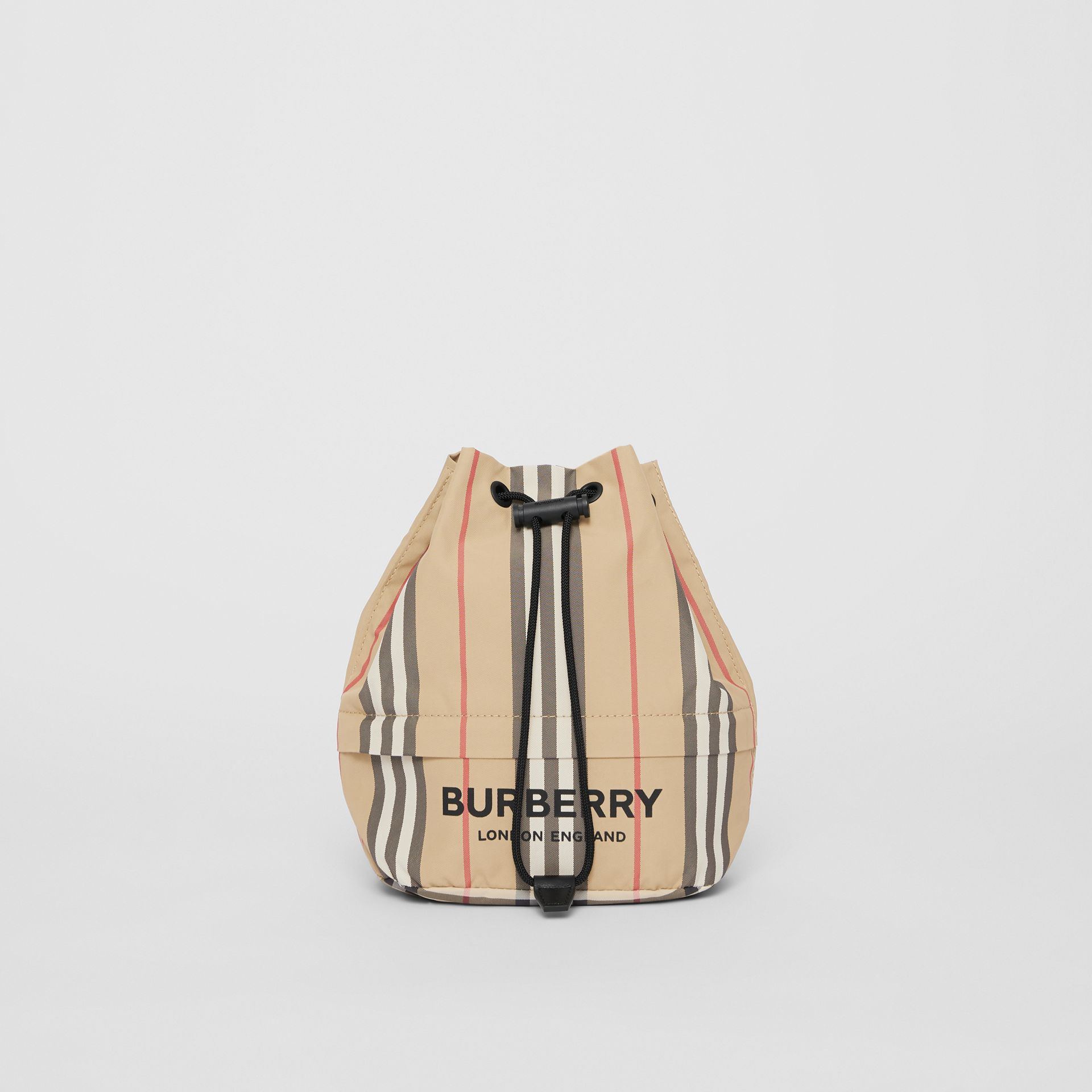 Logo Print Icon Stripe Nylon Drawcord Pouch in Archive Beige - Women | Burberry United Kingdom - gallery image 0