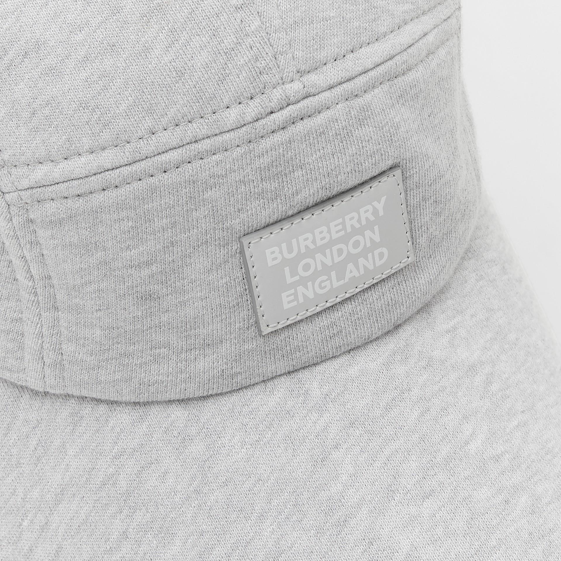 Logo Appliqué Cotton Jersey Bonnet Cap in Light Pebble Grey | Burberry - gallery image 1