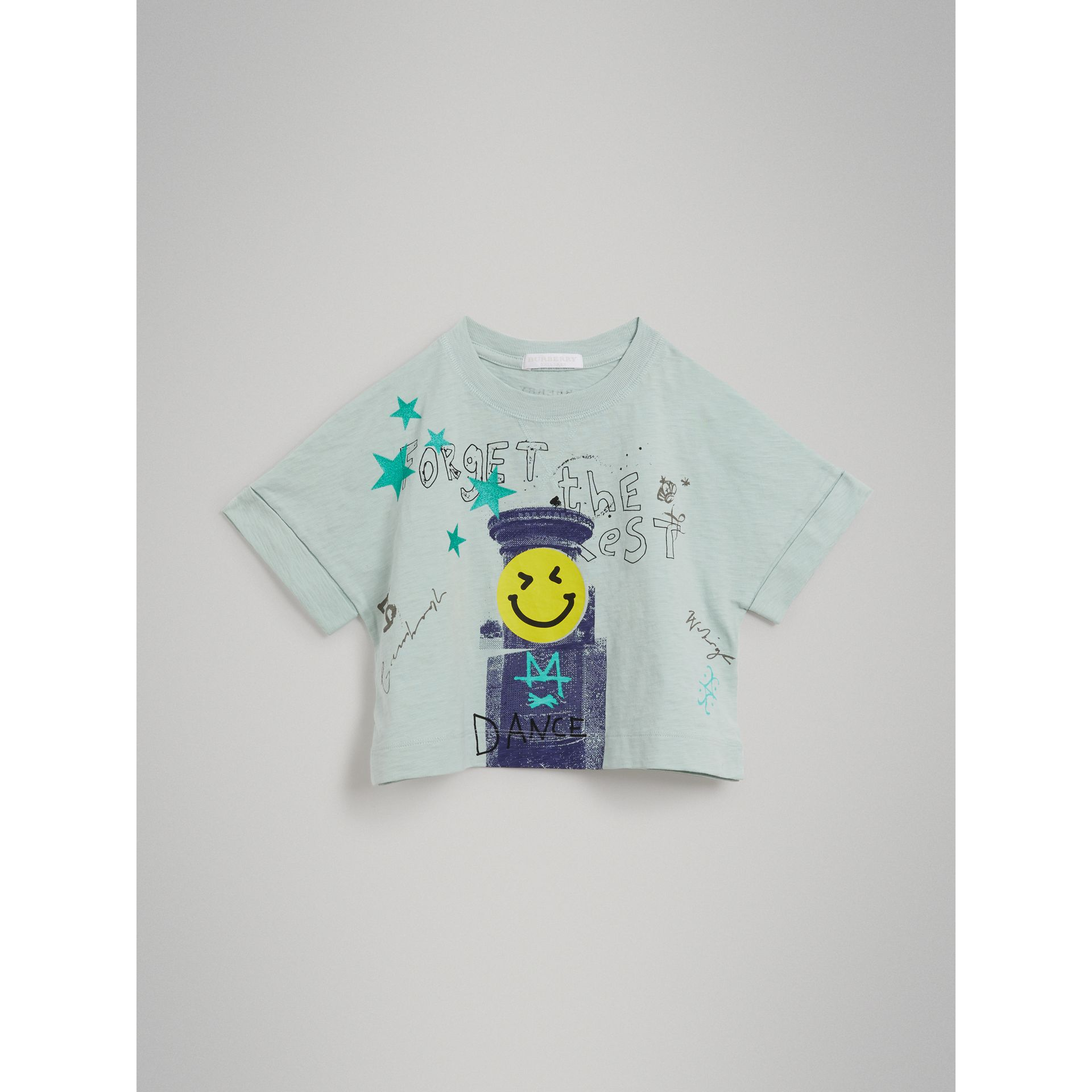 Smiley Face Print Cropped T-shirt in Pale Mint - Girl | Burberry - gallery image 0