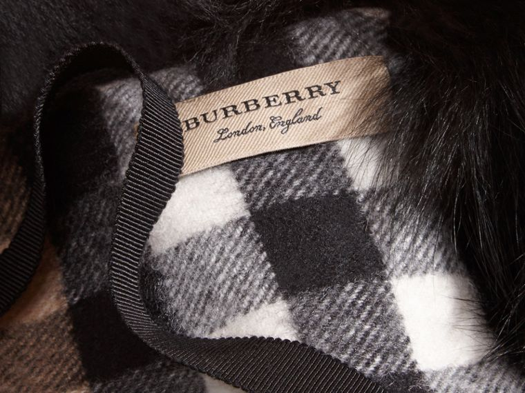 Fox Fur Collar with Check Cashmere Lining in Black/camel - Women | Burberry - cell image 1